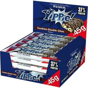 Weider Yippie! Bar Cookies Double Choc 37% Protein 12x45 g Riegel