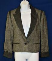 LOUIS FERAUD Paris Gray Alpaca/Wool/Nylon Tweed Blazer Jacket Size EU 38, US 10