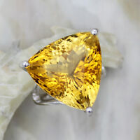 Amazing Natural  Citrine Trillion  Fine Statement Rings Huge 925 Sterling Silver