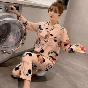 Ladies Women Pyjamas Set Long Sleeve Night wear Lounge Wear Pajamas Pjs Sleep D8