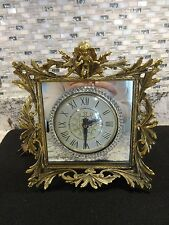 Vintage Ormolu Gold Clock Cherub & Bird Art Nouveau Vanity