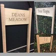 Personalised Oak House Sign, Standing Custom Engraved Outdoor Wooden Name Plaque