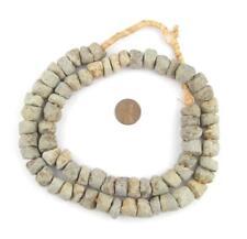 Coarse Mali Stone Beads 13mm African Grey Unusual Large Hole 28 Inch Strand