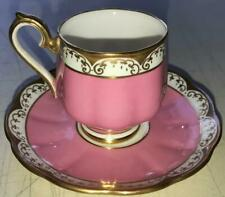 Royal Albert Demitasse Cup & Saucer Set-Pink & Gold