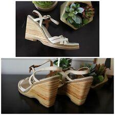 Vtg 80s Ivory Grosgrain Ribbon Wooden Heel Wedges Shoes 7 7.5 N Sandals