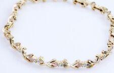 "Tri-Tone 1/4 Ct Diamond Bracelet 10K Yellow Green Rose Gold 8""  Below Wholesale"