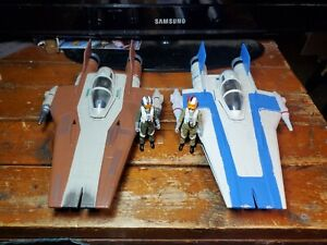 Star Wars A Wing Fighter lot of 2 with Pilots