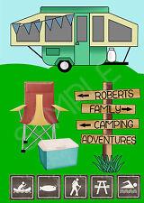 Personalised caravan camping family journal trip record travel A5 60pg log book