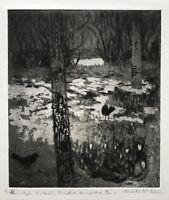 Karl Adser 1912-1995 Vögel auf dem Waldboden Nacht Winter mit Schneeresten