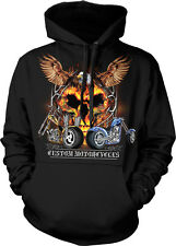 Custom Motorcycles Choppers Bikes Eagle Fire Skull Ride Hoodie Pullover
