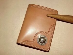 Handmade japan tochigi vegetable tanned leather wallet with 925 silver buckle