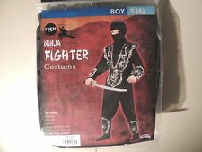 New Ninja Fighter Costume Boy Size Small 6 Comic Con Cosplay 8 piece set Black