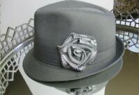 Hat Vintage Fedora Women Zip Rose Boho Gray Casual 80's #P5