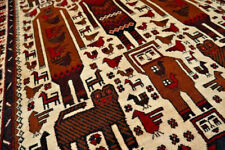 Vintage Horse Ride Tribal belouch Pictorial Rug