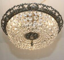XL Antik Deckenlampe Plafoniere Silberfarben Kristalllüster NEUE VERKABELUNG Led