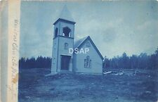 A48/ Wellington Maine Me RPPC Real Photo Postcard c1910 Union Church Blue Tint 2