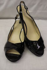 "NINE WEST Black Patent Leather ""Sylviao"" PeepToe Slingback Heels,Womens Sz 8M-16"