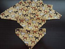 Slide on dog bandanas size XS. Mustard colour with Dogs   Polycotton handmade