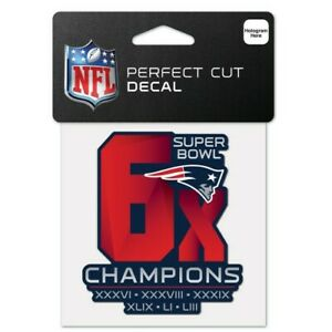 """NEW ENGLAND PATRIOTS 6 TIME SUPER BOWL CHAMPS PERFECT CUT DECAL 4"""" NFL LICENSED"""