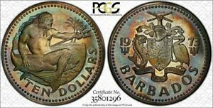 1973-FM Barbados 10 Dollars PCGS PR67DCAM Multi Color Toned Coin In High Grade