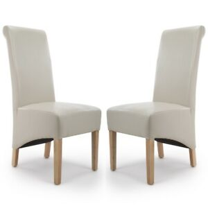 KRISTA ROLL BACK BONDED LEATHER CREAM DINING  CHAIRS x 2 (a pair)