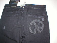 New NWT Love Moschino Black Jeans Straight Leg Designer Peace Sign Italy 33 X 34