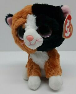 Ty Beanie Boos TAURI the Calico Cat 6in Plush 2016 Pink Glitter Eyes