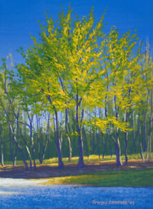 Original Acrylic Painting of Spring Trees 9x12 Landscape by Timothy Stanford