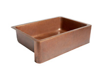 Adams Farmhouse 33 in. Single Basin Kitchen Sink Apron Front Solid Copper Bowl