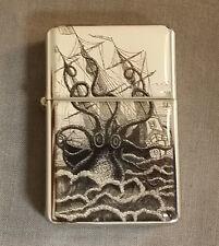 Windproof Refillable Oil Lighter with Gift Box Vintage Octopus Kraken Attack