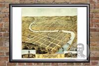 Vintage Frankfort, KY Map 1871 - Historic Kentucky Art Old Victorian Industrial