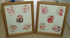 FRAMED ORIENTAL PICTURES x 2 OF VARIOUS ORIENTAL ANIMALS  VINTAGE c1980's