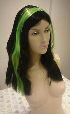 Señoras para mujer Negro Verde Bruja Morticia las Brujas Peluca Halloween Vestido de fantasía
