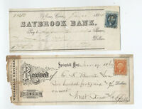 1864 and 1869 bank checks with revenues MA and CT [y5269]