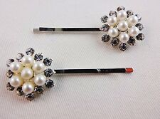 Pearl rhinestone cluster hair bobby pins set 2 silver metal bride wedding dancer