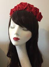 Red Rose Flower Floral Crown Headband Garland Festival Boho Vintage