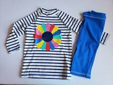 Mini Boden size 5-6  Swimsuit Surf Suit girl New Stripes flower rashguard pants