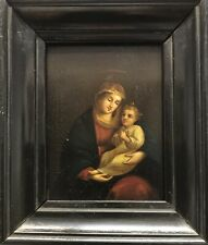 Fine Antique Old Master miniature 19th Century painting Of a Madonna & Child