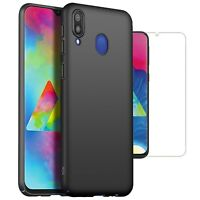 For Samsung Galaxy M20 Case Slim Hard Back Cover & Glass Screen Protector