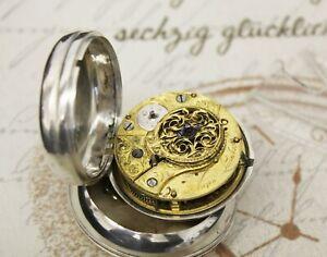 Rare antike Spindel Taschenuhr verge pair case pocket watch NORTON LONDON