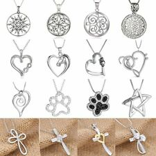 Fashion Animal Letter Heart Compass Cross Flower Crystal Pendant Necklace Women