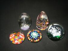 Mixed Job Lot Of 5 Old Vintage Glass Paperweights