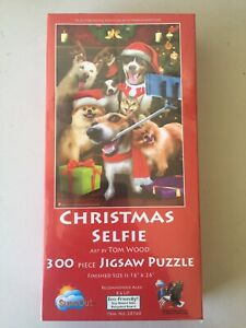 "Christmas Selfie - Art by Tom Wood 300 Piece Jigsaw Puzzle SUNSOUT 16"" x 26"""