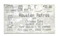 2002 Houston Astros vs Chicago Cubs Game Ticket Astros Field