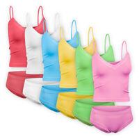 Womens Ladies Cotton Underwear 2-piece Vest Briefs Set Stretch Pyjamas Cami Top