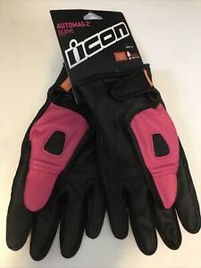 Icon Automag Women Leather Gloves Street Bike Ride Motorcycle Riding Xlarge Pink