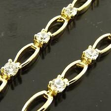 FSA175 GENUINE REAL 18K YELLOW G/F GOLD SOLID DIAMOND SIMULATED BRACELET BANGLE