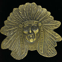 Chief Pontiac Native American Indian Solid Brass Belt Buckle