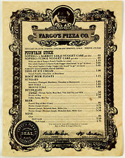 Vintage FOUNTAIN STOCK Menu FARGO'S PIZZA COMPANY Colorado Springs Estab. 1873
