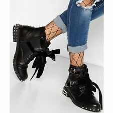 New Womens Ladies Studded Lace Up Ankle Boots Buckle Biker Goth Flat Shoes Size